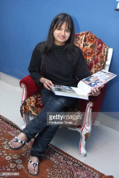 Natasha Jain Limca Book of Records holder and the youngest human rights activist of the country poses during a profile shoot at her residence in New...