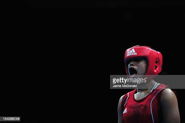 Natasha Jonas of Great Britain looks on during her quaterfinal 57kg60kg bout at ExCel on November 25 2011 in London England