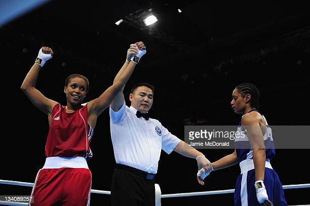 Natasha Jonas of Great Britain wins against Quanitta Underwood of USA during their quaterfinal 57kg60kg bout at ExCel on November 25 2011 in London...