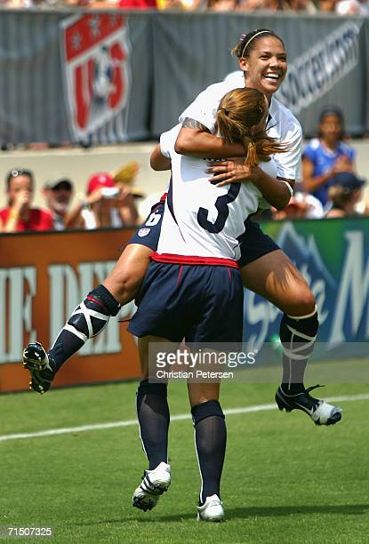 c93a83d1fec Natasha Kai of Team USA celebrates with Christie Rampone after scoring  against Team Ireland during the