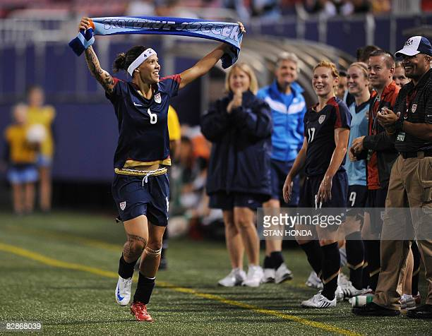 9946d8d79af Natasha Kai of the US Olympic gold medal winning team celebrates her goal  against Ireland during