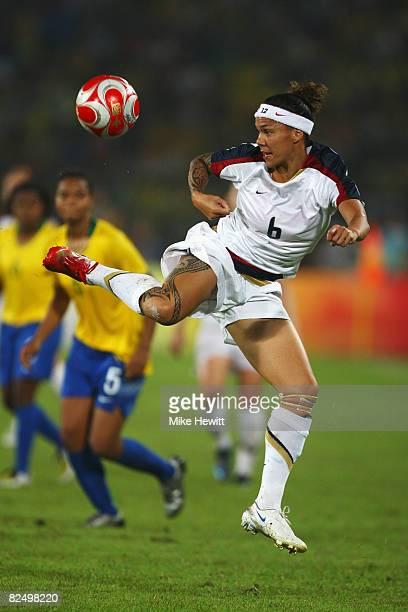 Natasha Kai of United States controls the ball during the Women's Football Gold Medal match between Brazil and the United States on Day 13 of the...