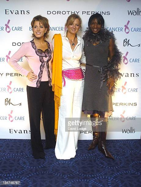 Natasha Kaplinsky Alice Beer and Denise Lewis during Breast Cancer Care 2004 Fashion Party at The Grosvenor House Hotel in London United Kingdom