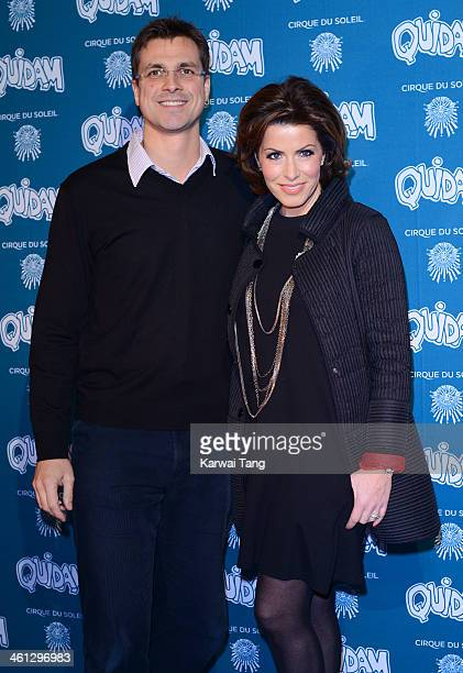 Natasha Kaplinsky and Justin Bower attend the VIP night for Cirque Du Soleil Quidam at Royal Albert Hall on January 7 2014 in London England