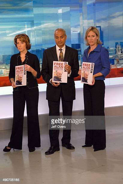 Natasha Kaplinsky George Alagiah Sophie Raworth taking part in worldwide vigil held for kidnapped Gaza correspondent Alan Johnston to mark his 100th...