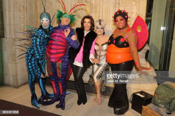 Natasha Kaplinsky with cast members attending the Opening Night performance of 'Cirque Du Soleil OVO' at the Royal Albert Hall on January 10 2018 in...