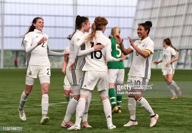 Natasha Kowalski of Germany celebrates after scoring the second goal of the game during the UEFA Elite Round match between Ireland U17 Girl's and...