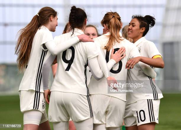 Natasha Kowalski of Germany celebrates after scoring the second goal of the game during the UEFA Elite Round match between Ireland U17 Girl's and...