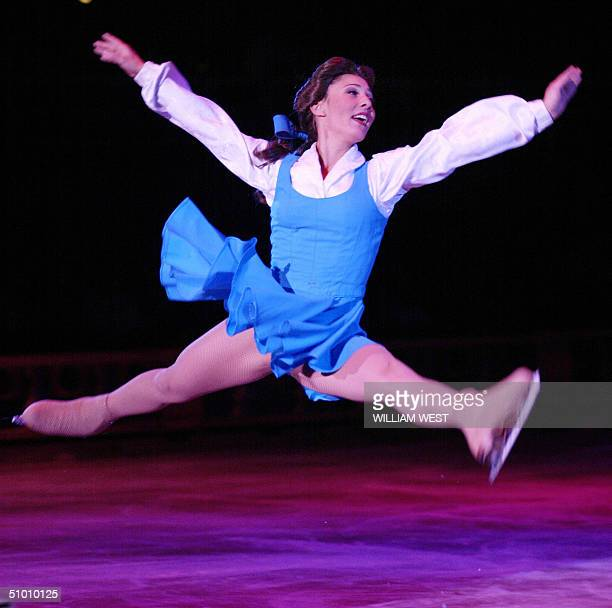 Natasha Kuchiki starring as Belle in the Disney On Ice production of Beauty and the Beast soars through the air during the premier in Melbourne 30...