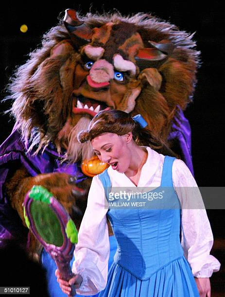 Natasha Kuchiki starring as Belle in the Disney On Ice production of Beauty and the Beast sings in front of the Beast during the premier in Melbourne...