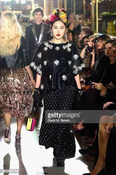 Natasha Lau walks the Dolce Gabbana Italian Christmas catwalk show at Harrods on November 2 2017 in London England