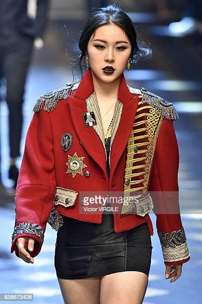 Natasha Lau walks the runway at the Dolce Gabbana show during Milan Men's Fashion Week Fall/Winter 2017/18 on January 14 2017 in Milan Italy