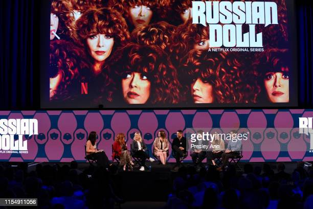 """Natasha Lyonne, Amy Poehler, Leslye Headl and Charlie Barnett attend Netflix's FYSEE event for """"Russian Doll"""" at Netflix FYSEE At Raleigh Studios on..."""