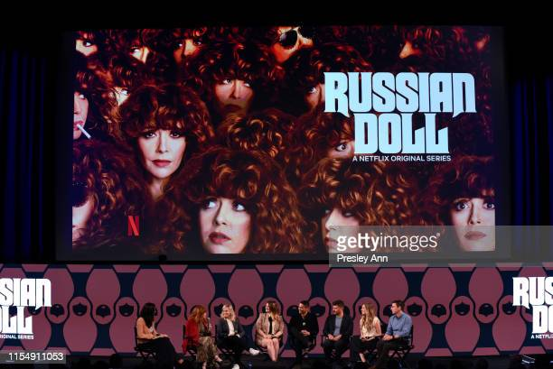 """Natasha Lyonne, Amy Poehler, Leslye Headland, Charlie Barnett, Todd Downing, Brienne Rose and Chris Teague attend Netflix's FYSEE event for """"Russian..."""