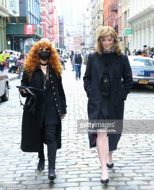 Natasha Lyonne and Annie Murphy are seen at the film set of the 'Russian Doll' TV Series on March 25, 2021 in New York City.