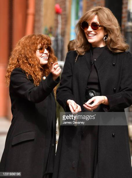 """Natasha Lyonne and Annie Murphy seen on the set of """"Russian Doll"""" in SoHo on March 25, 2021 in New York City."""