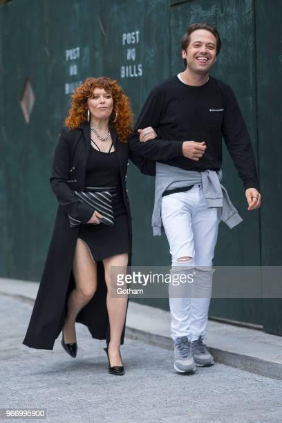 Natasha Lyonne arrives at the Alexander Wang resort fashion show at Pier 17 on June 3 2018 in New York City