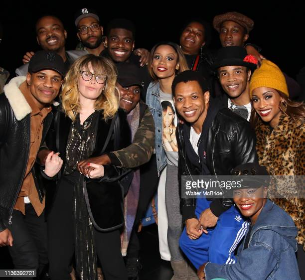 Natasha Lyonne Danielle Brooks and Dascha Polanco with the cast and crew backstage after a performance of Ain't Too Proud at the Imperial Theatre on...