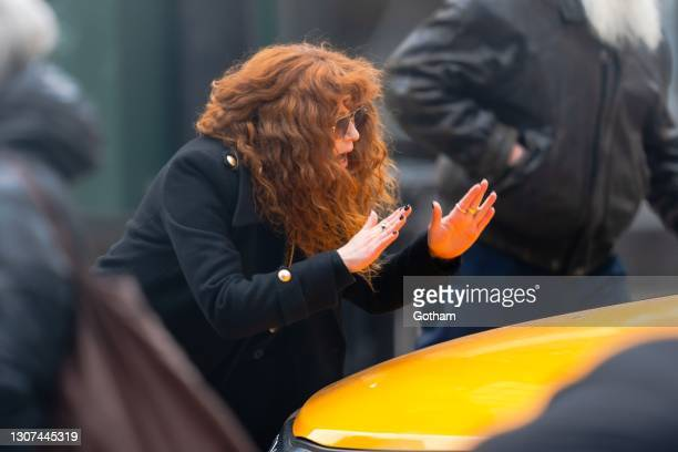 """Natasha Lyonne is seen on set for """"Russian Doll"""" in Astor Place on March 16, 2021 in New York City."""