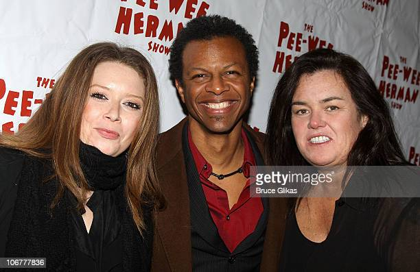 Natasha Lyonne Phil LaMarr and Rosie O'Donnell pose at The Opening Night After Party for 'The PeeWee Herman Show' on Broadway at the Bryant Park...