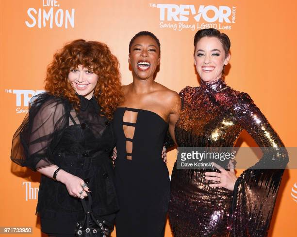 Natasha Lyonne Samira Wiley and Lauren Morelli attend The Trevor Project TrevorLIVE NYC at Cipriani Wall Street on June 11 2018 in New York City