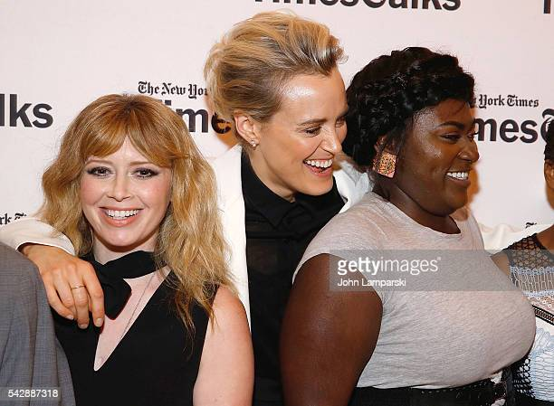 Natasha Lyonne Taylor Schilling and Danielle Brooks attend TimesTalks presents 'Orange Is the New Black' at The Times Center on June 24 2016 in New...