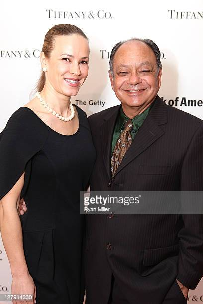 Natasha Marin and actor Cheech Marin pose during the Pacific Standard Time: Art in LA 1945-1980 opening event held at the Getty Center on October 2,...