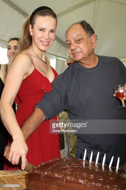 Natasha Marin and Cheech Marin attend Cheech Marin's Birthday Bash at Polo Lounge during ArtHamptons at Sculpture Fields on July 13 2012 in...