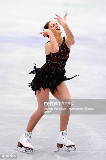 Natasha Mckay of Great Britain competes in the Ladies Short Program during day 1 of the European Figure Skating Championships at Ostravar Arena on...