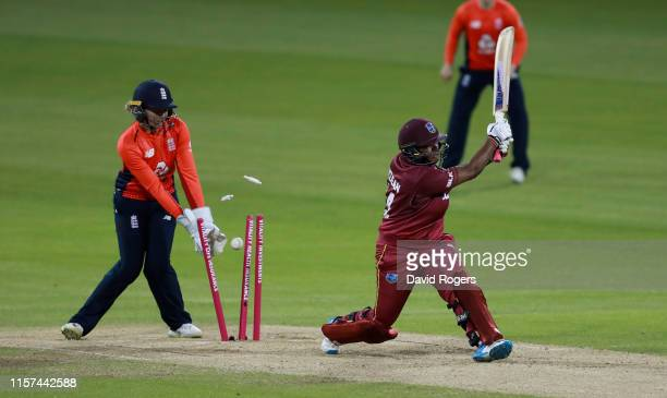 Natasha McLean of the West indies is bowled by Katherine Brunt during the 2nd Vitality Women's IT20 match between England and the West Indies at The...