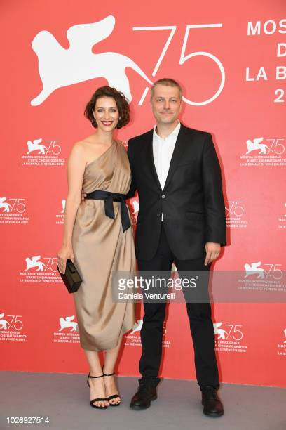 "Natasha Merkulova and Aleksey Chupov attend ""The Man Who Surprised Everyone "" photocall during the 75th Venice Film Festival at Sala Casino on..."