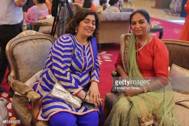 Natasha Nanda during the wedding reception of Nikhil and Anjali at Country Inn on April 29 2017 in New Delhi India