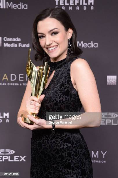 Natasha Negovanlis poses in the press room at the 2017 Canadian Screen Awards at Sony Centre For Performing Arts on March 12 2017 in Toronto Canada