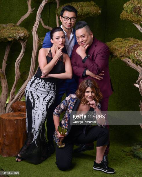 Natasha Negovanlis Simu Liu Andrew Phung and Elise Bauman pose in the 2018 Canadian Screen Awards Broadcast Gala Portrait Studio at Sony Centre for...
