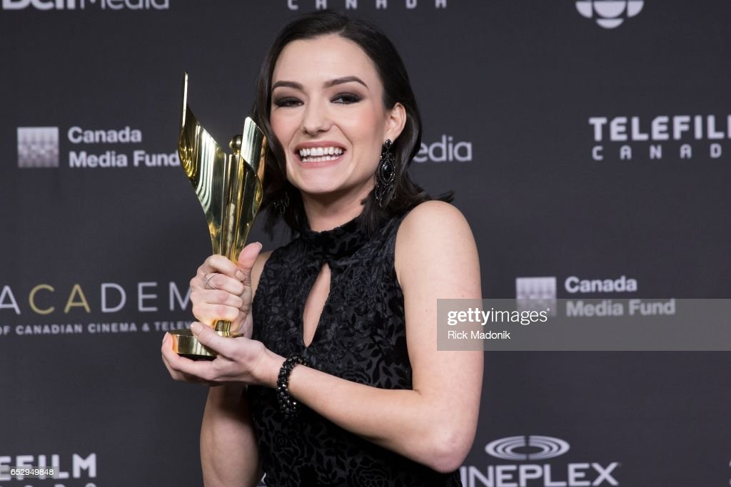 Natasha Negovanlis, with her award. Canadian Screen Awards at Sony Centre for Performing Arts.