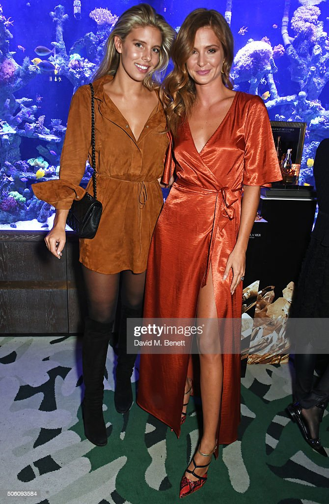 Natasha Oakley (L) and Millie Mackintosh attend a private dinner hosted by Creme de la Mer to celebrate the launch of Genaissance de la Mer the Serum Essence, available exclusively at Harrods, at Sexy Fish on January 21, 2016 in London, England.