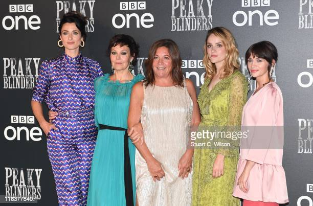Natasha O'Keeffe Helen McCrory Caryn Mandabach Sophie Rundle and Charlene McKenna attend the Peaky Blinders BFI TV Preview at BFI Southbank on July...