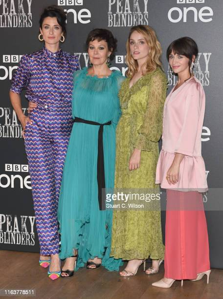 Natasha O'Keeffe Helen McCrory Sophie Rundle and Charlene McKenna attend the Peaky Blinders BFI TV Preview at BFI Southbank on July 23 2019 in London...