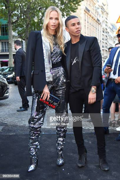 Natasha Poly and Olivier Rousteing arrive at the 'Vogue Foundation Dinner 2018' at Palais Galleria on July 3, 2018 in Paris, France.