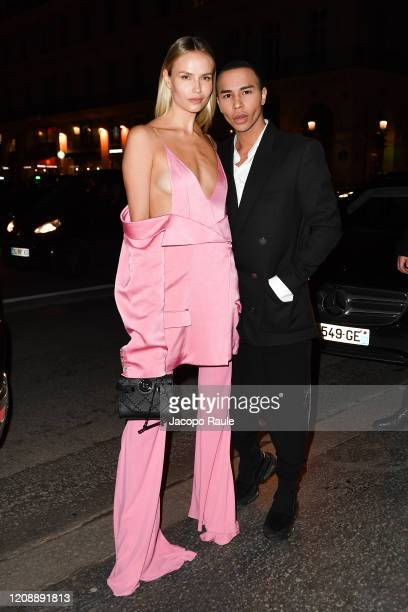 Natasha Poly and Olivier Rousteing attend the Harper's Bazaar Exhibition as part of the Paris Fashion Week Womenswear Fall/Winter 2020/2021 At Musee...