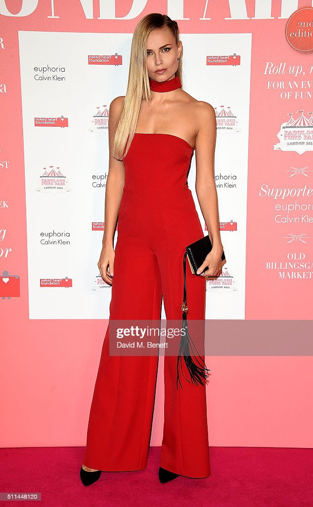 Natasha Poly at The Naked Heart Foundation's Fabulous Fund Fair in London at Old Billingsgate Market on February 20, 2016 in London, England.