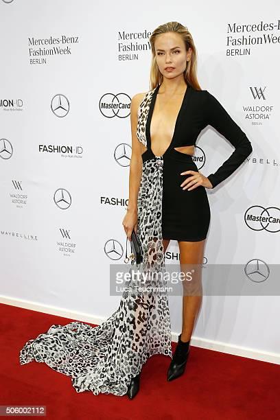 Natasha Poly attends the Mercedes-Benz Fashion Talk during the Mercedes-Benz Fashion Week Berlin Autumn/Winter 2016 at Brandenburg Gate on January...