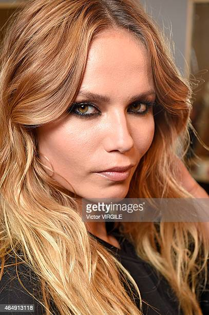 Natasha Poly backstage at the Versace show during the Milan Fashion Week Autumn/Winter 2015 on February 27 2015 in Milan Italy