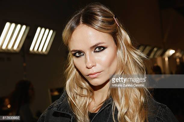 Natasha Poly is seen backstage ahead of the Versace show during Milan Fashion Week Fall/Winter 2016/17 on February 26 2016 in Milan Italy