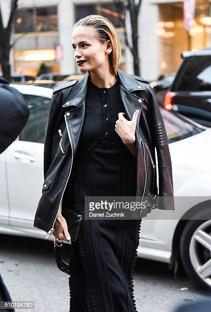 Natasha Poly is seen outside the Alexander Wang show during New York Fashion Week Women's Fall/Winter 2016 on February 13 2016 in New York City