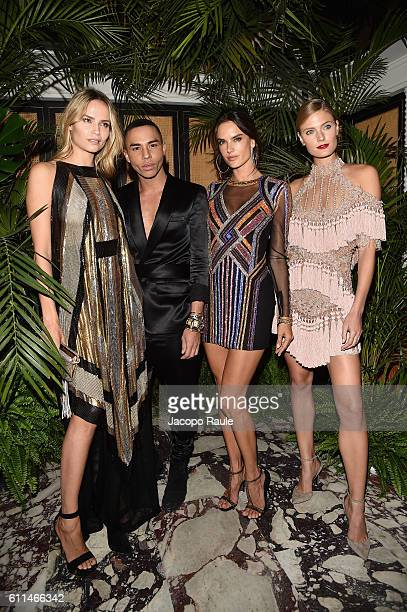 Natasha Poly Olivier Rousteing Alessandra Ambrosio and Constance Jablonski attend the Balmain aftershow party as part of the Paris Fashion Week...