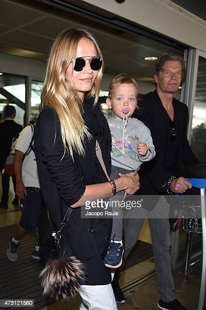 Natasha Poly Peter Bakker and their daughter arrive at Nice Airport during the 68th annual Cannes Film Festival on May 13 2015 in Cannes France