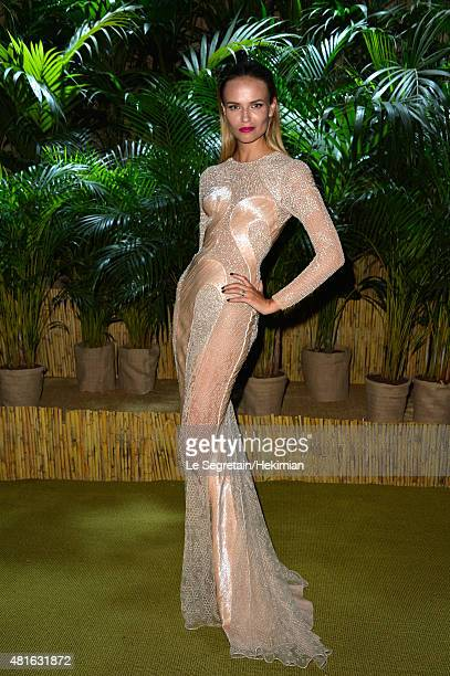 Natasha Poly poses as she attends The Leonardo DiCaprio Foundation 2nd Annual SaintTropez Gala at Domaine Bertaud Belieu on July 22 2015 in...