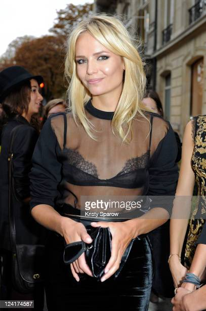 Natasha Poly poses during the Vogue Fashion Celebration Night 2011 on Avenue Montaigne on September 8 2011 in Paris France