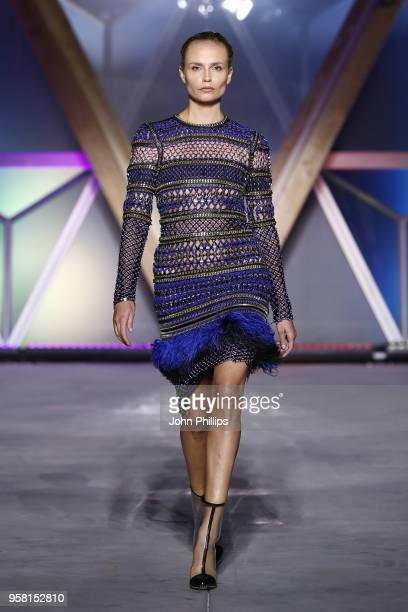 Natasha Poly walks the Runway at Fashion for Relief Cannes 2018 during the 71st annual Cannes Film Festival at Aeroport Cannes Mandelieu on May 13,...